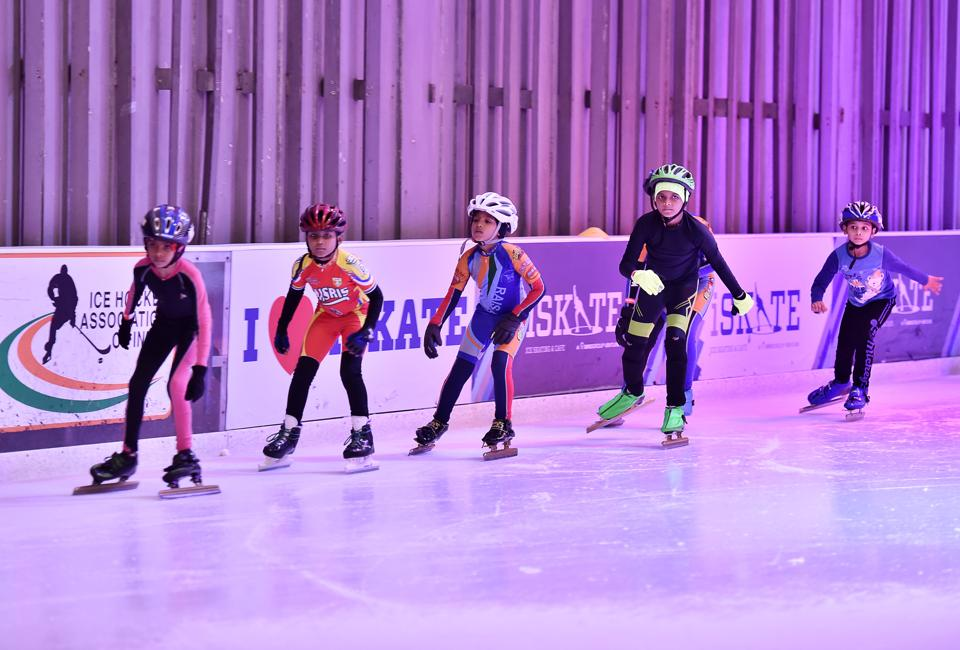 Several children, aged between 6 and 18, had started their training at the iSKATE rink at Ambience Mall, Gurgaon at 9am on Monday.