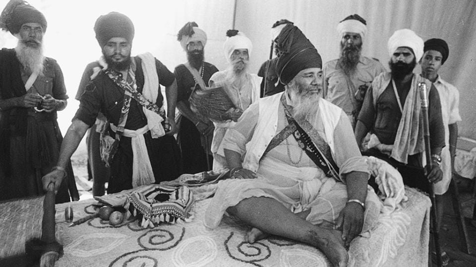 Baba Santa Singh, the 13th Jathedar of Budha Dal was part of a government undertaking to reconstruct the Akal Takht following Operation Blue Star. His involvement with this initiative resulted in ex-communication from the Sikh Panth.  (HT Photo)