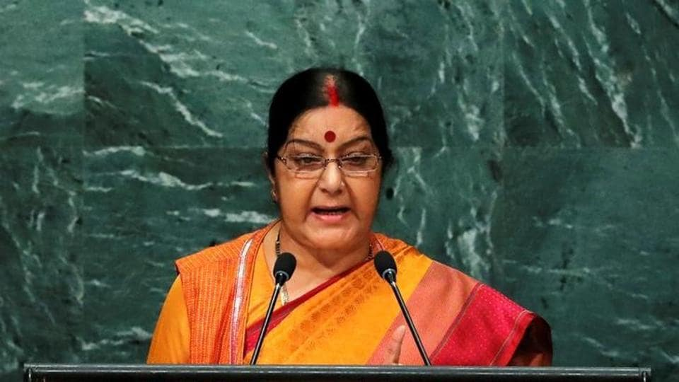 External affairs minister Sushma Swaraj addresses the United Nations General Assembly in the Manhattan borough of New York, US on September 26, 2016.