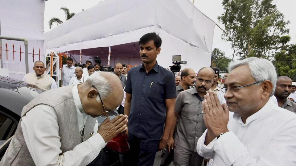Bihar chief minister Nitish Kumar and governor Ram Nath Kovind exchange greetings on the occasion of Sampoorna Kranti Divas in Patna on Monday.