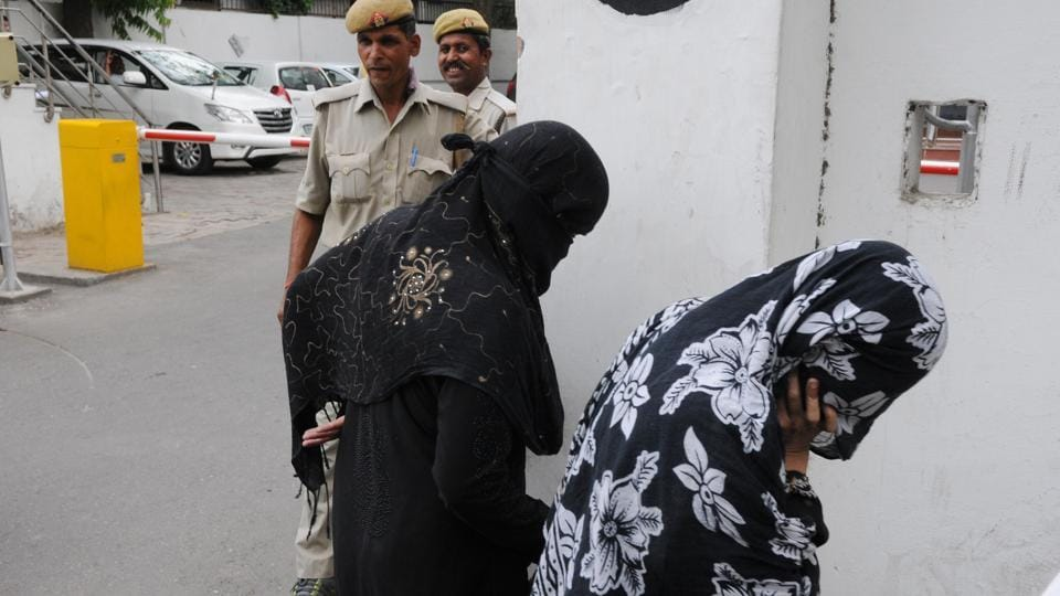 Two victims of the alleged gang rape inJewar leave the secretariat in Lucknow after meeting the CM on June 1.