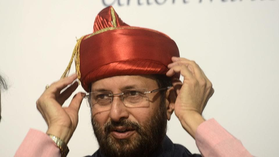 Union human resource development minister Prakash Javadekar was presented a Puneri pagdi at the inauguration of Smart Campus Cloud Network at MIT Pune on the occasion of World Enviroment Day on Monday.