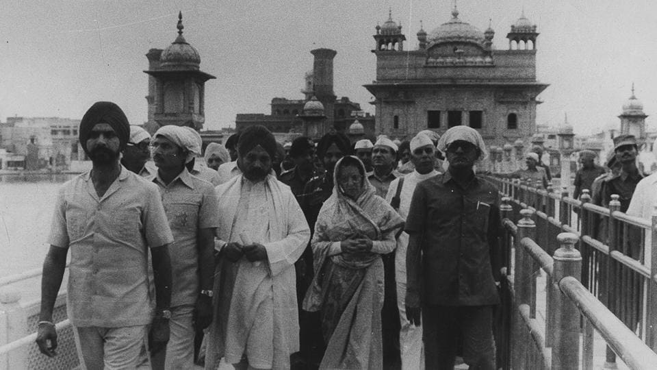 Indira Gandhi seen at the Golden Temple post Operation Blue Star on June 23, 1984. Her assassination later that year was a direct reaction to this attack on the Sikh holy site.  (HT Photo)