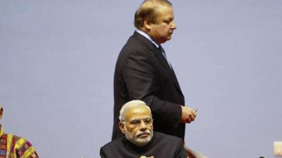 PM Modi with Pakistan Prime Minister Nawaz Sharif at SAARC summit.
