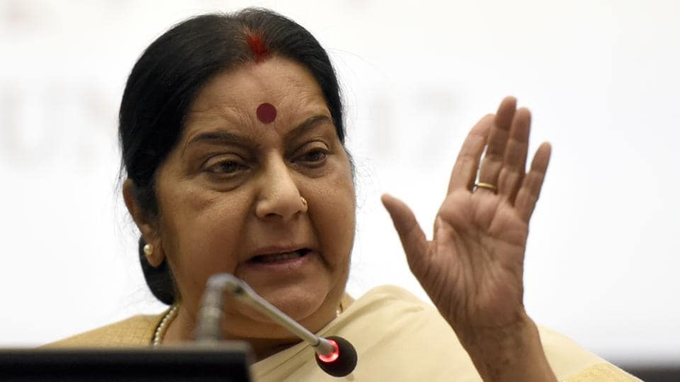 External affairs minister Sushma Swaraj addresses a press conference in New Delhi on Monday.