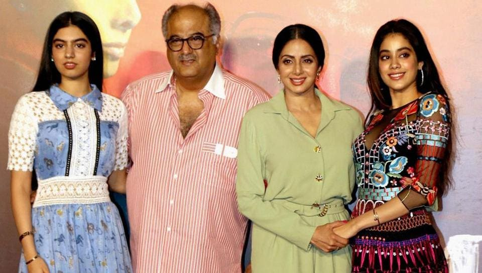 Sridevi and Boney Kapoor with their daughters at the trailer launch of Mom in Mumbai.