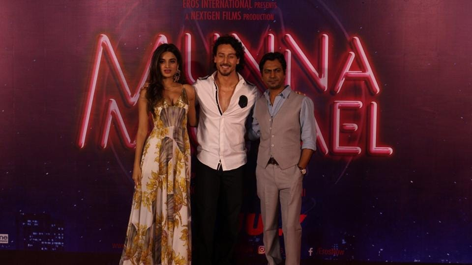 Nawazuddin Siddiqui, Nidhhi Agerwal and Tiger Shroff during the trailer launch of his upcoming film Munna Michael in Mumbai.