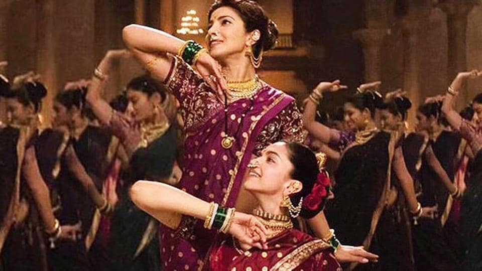 A still from the historical drama Bajirao Mastani (2015), which was loosely based on the life of the Maratha general Peshwa Bajirao I.