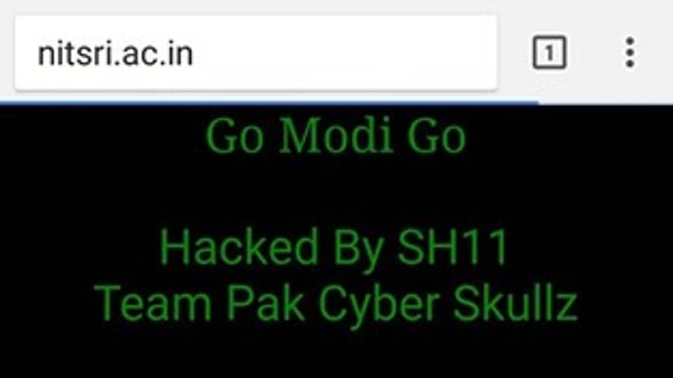 A screen grab of the hacked website of the National Institute of Technology, Srinagar
