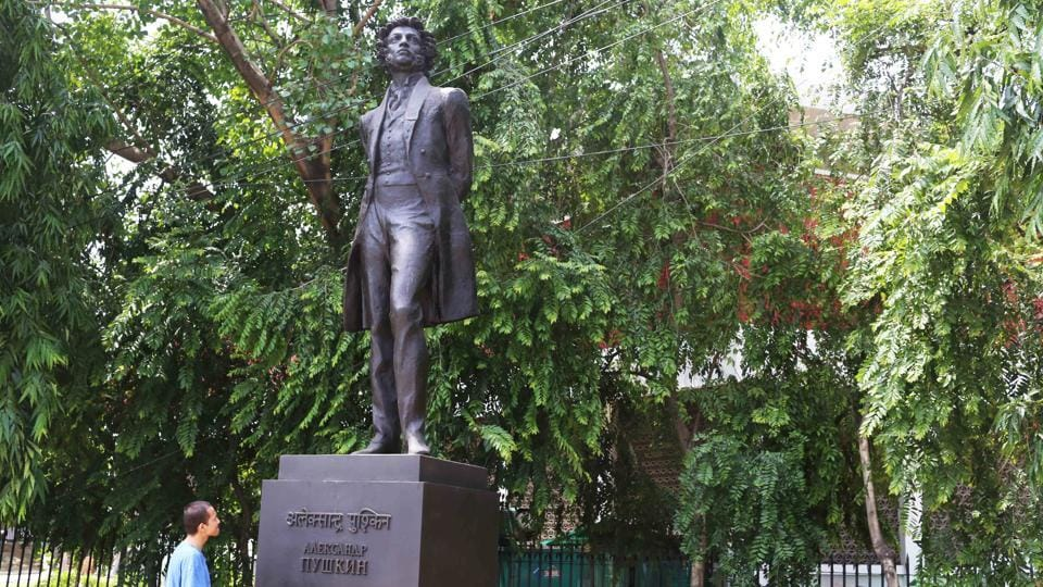 Today is Alexander Pushkin's birthday. His bronze statue stands high on one side of central Delhi's Mandi House square.