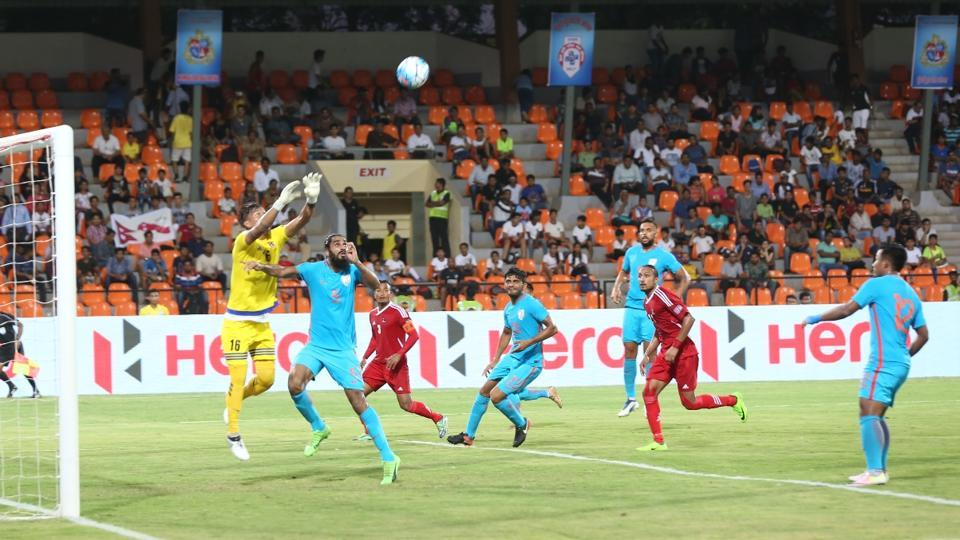 India and Nepal players in action during an international football friendly in Mumbai on Tuesday.