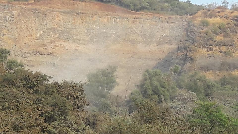 A photo the NGO took of quarrying at Parsik Hill.
