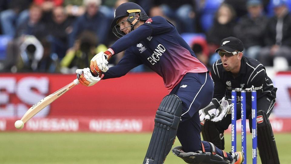 England's Jos Buttler hits out against New Zealand during the ICC Champions Trophy, Group A cricket match against New Zealand. (AP)