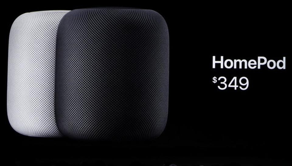 Phil Schiller, senior vice president of worldwide marketing announces the new Apple HomePod during the annual Worldwide Developer Conference (WWDC) in San Jose, California, June 5, 2017.