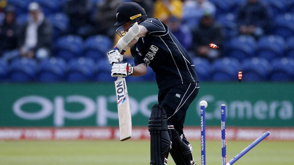 New Zealand's Luke Ronchi is bowled by England's Jake Ball. (REUTERS)
