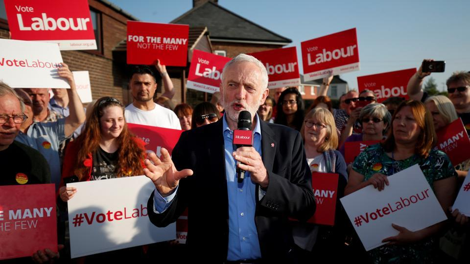 Jeremy Corbyn, the leader of Britain's opposition Labour Party, makes a speech at a campaign event in Rotherham, Britain.
