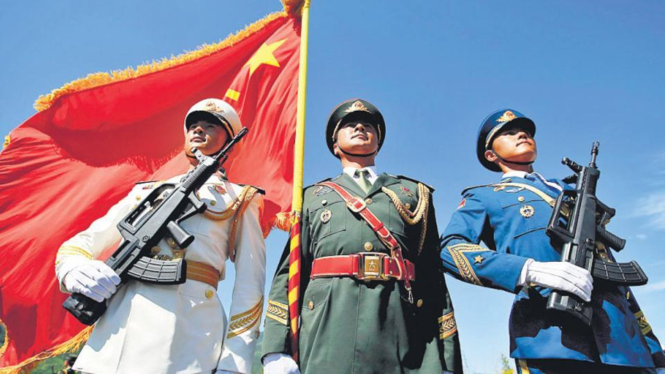 Soldiers of People's Liberation Army during a training session for a military parade in Beijing.
