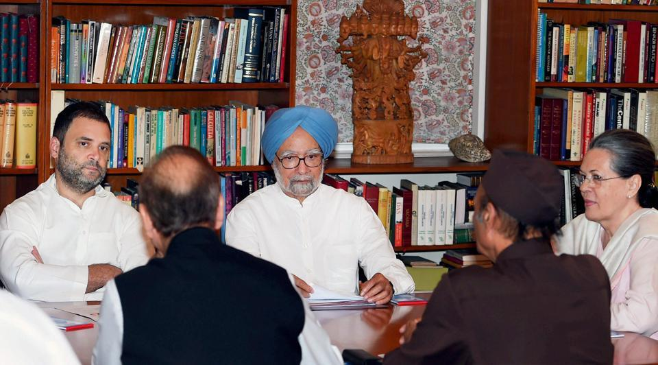 Former prime minister Manmohan Singh, Congress president Sonia Gandhi, party vice-president Rahul Gandhi and other leaders during the Congress Working Committee (CWC) meeting at 10 Janpath in New Delhi on Tuesday.