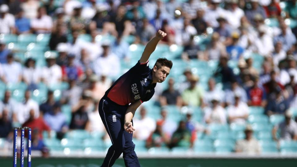 England's Chris Woakes in action against Bangladesh in the ICC Champions Trophy 2017 Group A opener at The Oval on June 1.