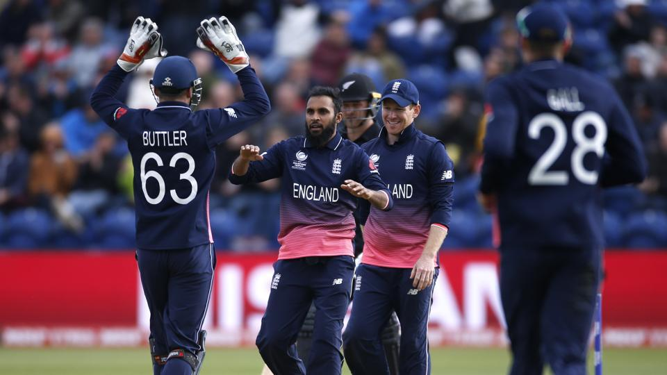 England's Adil Rashid celebrates the wicket of New Zealand's Neil Broom. (REUTERS)