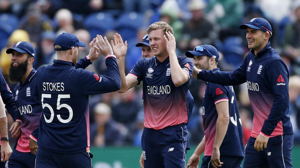England's Jake Ball celebrates dismissing New Zealand's Luke Ronchi with teammates during an ICCChampions Trophy 2017 match in Cardiff.