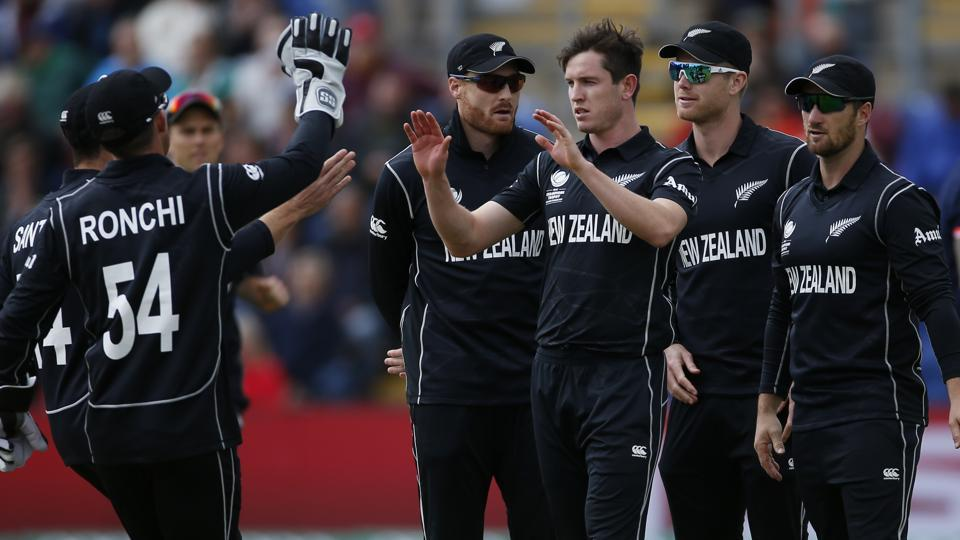 New Zealand's Adam Milne celebrates the wicket of England's Jason Roy. (REUTERS)