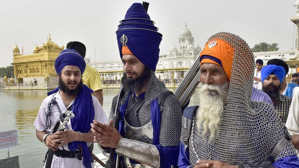 Sikh radical activists at Golden Temple on the 33rd anniversary of Operation Bluestar in Amritsar on Tuesday.  (Gurpreet Singh/HT Photo)