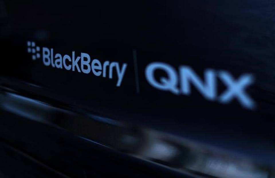 An automobile running Blackberry QNX software is shown during the Milken Institute Global Conference in California.