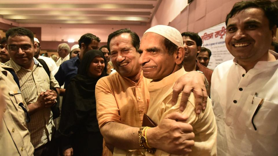 RSS leader Indresh Kumar at the Iftar party organised by RSS's Muslim wing, Rashtriya Muslim Manch, at Jamia Milia Islamia University in New Delhi on Monday.