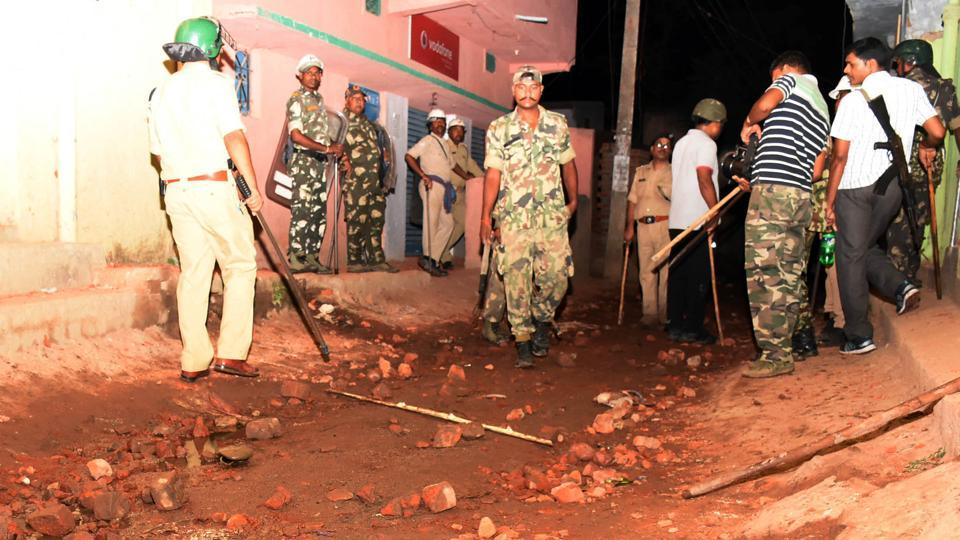 Police patrol Sukurhutu village on Monday night following a communal flare-up.