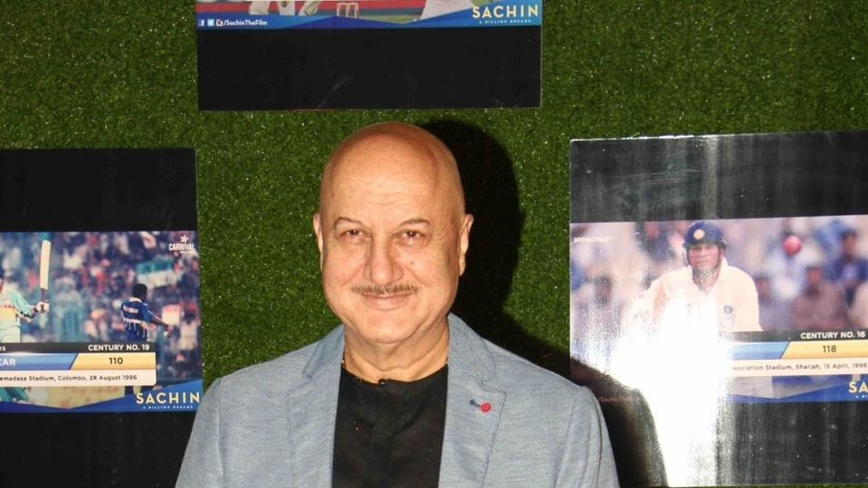Anupam Kher during the premiere of film Sachin: A Billion Dreams in Mumbai, on May 24.