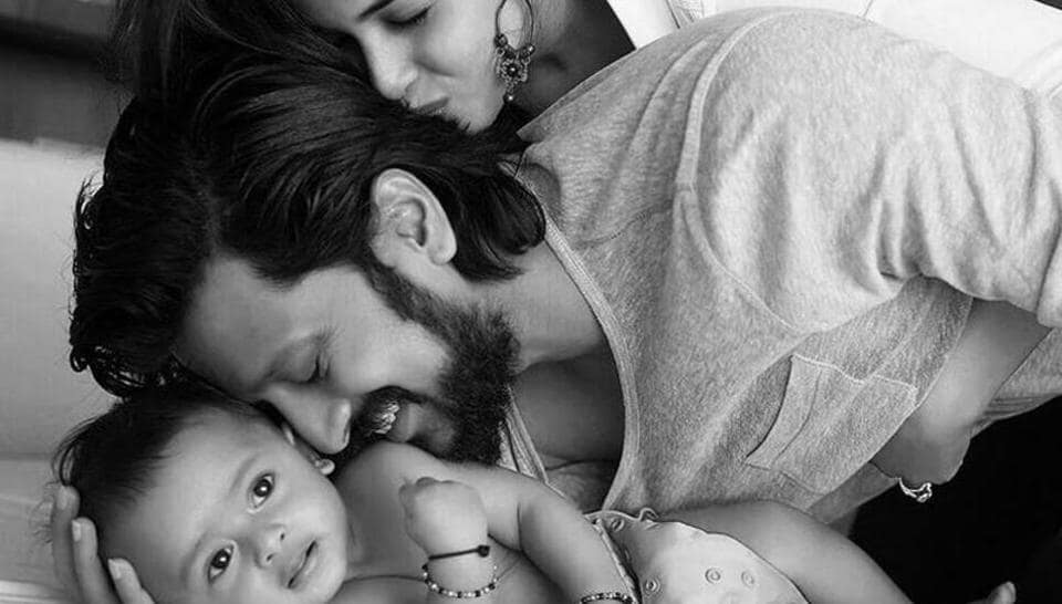 Riteish Deshmukh with wife Genelia and son Riaan.