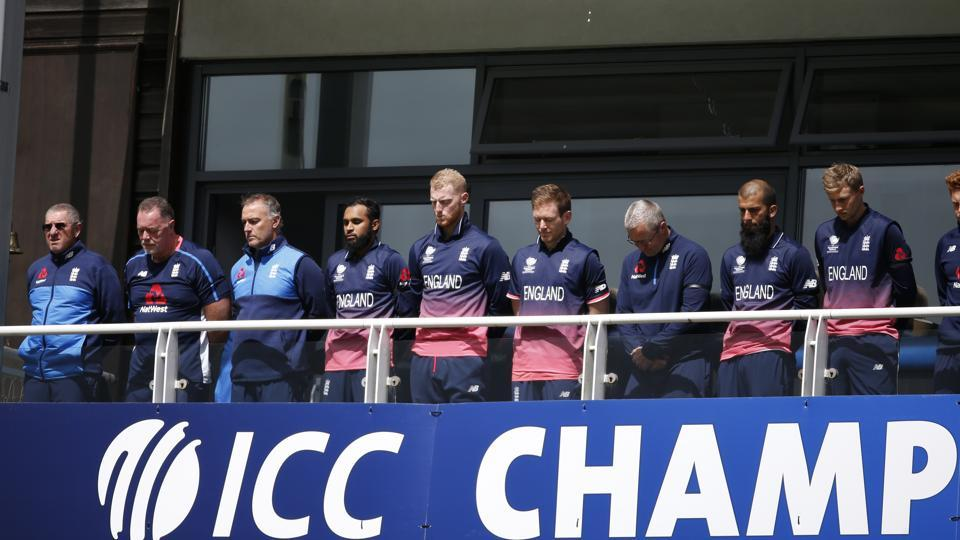 England players observe a minutes silence in tribute to the victims of Saturday nights attack in London. (REUTERS)