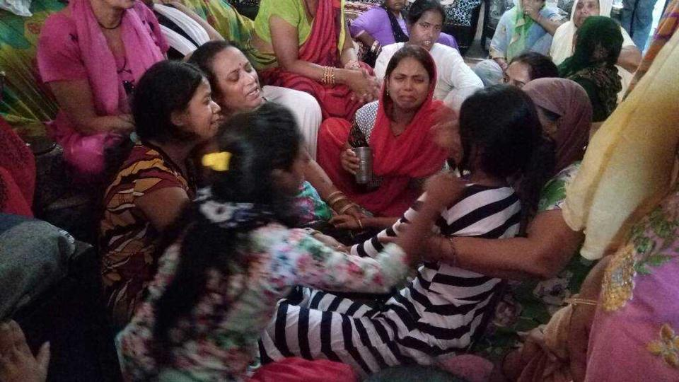 Neighbours and relatives console family of Manit, one of the boys who drowned.