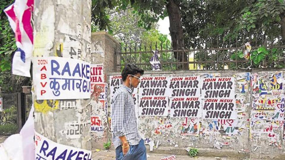 File picture of posters on a college wall before student council elections. Scenes like this won't be visible in Bengal from this year.