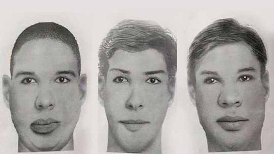 The police released sketches of the three accused in the gang rape of a 19-year-old and the murder of her nine-month old daughter.