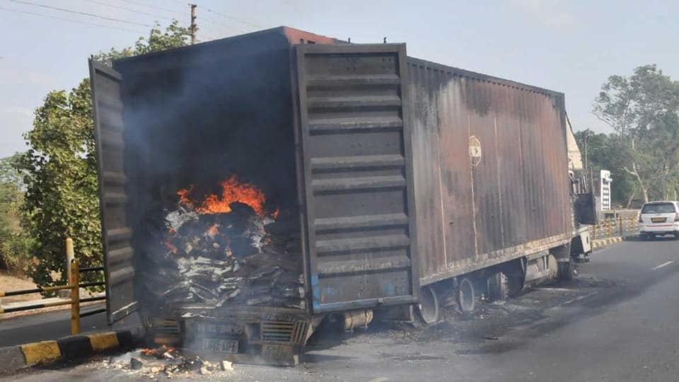 Burnt vehicles on the Mhow- Neemuch highway in Madhya Pradesh on Wednesday, June 7, 2017.