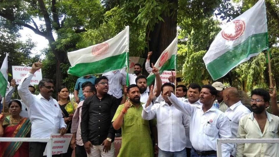Farmers protesting in Pune onMonday.