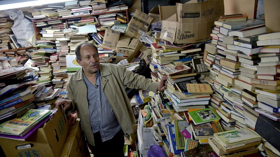 """Gutierrez never got past primary school as a student, but is now dubbed """"The Lord of the Books,"""" in demand from schools across the country."""