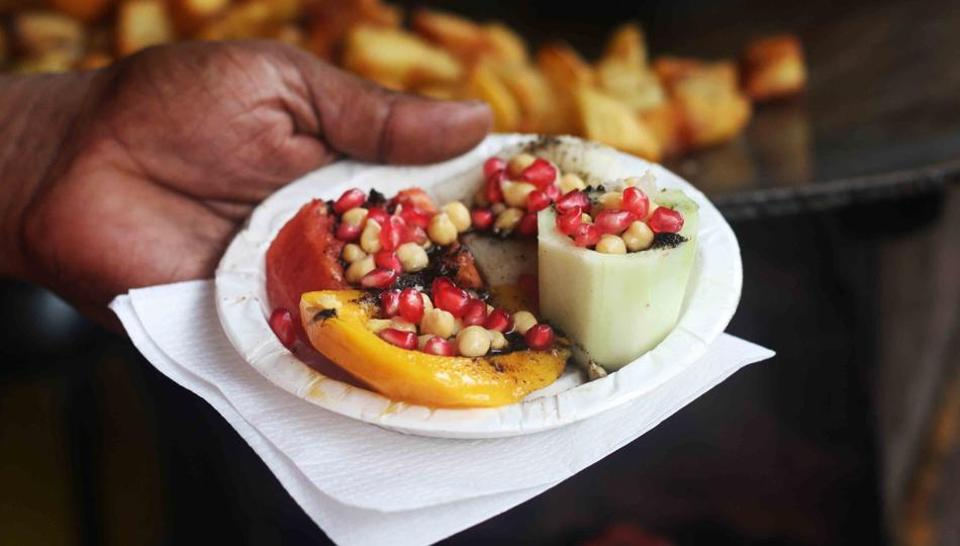 This is the famous kulle chaat at the humble Heera Lal Chat Corner in Old Delhi's Chawri Bazar.