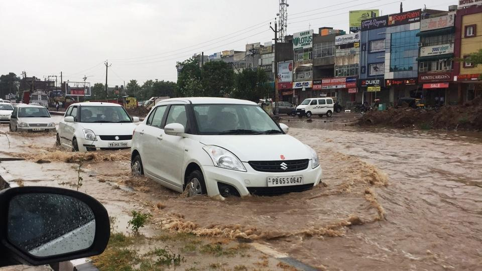 The weather office recorded 61.5 mm of rainfall in Chandigarh on Wednesday morning. (HT Photo)