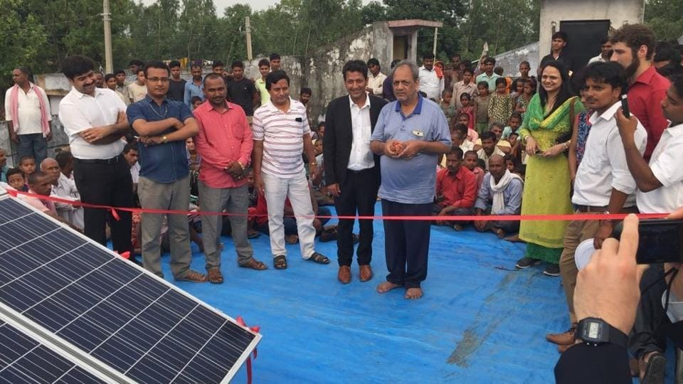Solar mini grid being inaugrated in village Sarvantara in Bahraich.