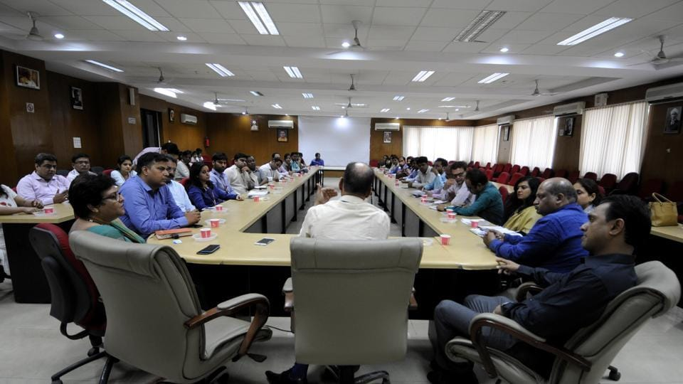AKTU officials held a meeting with representatives of the colleges and companies taking part in the two-day job fair.