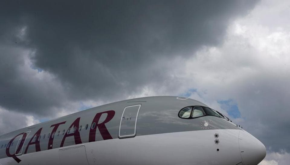 A Qatar Airways Airbus A350 XWB aircraft is displayed at the Singapore Airshow at Changi Exhibition Center February 18, 2016.