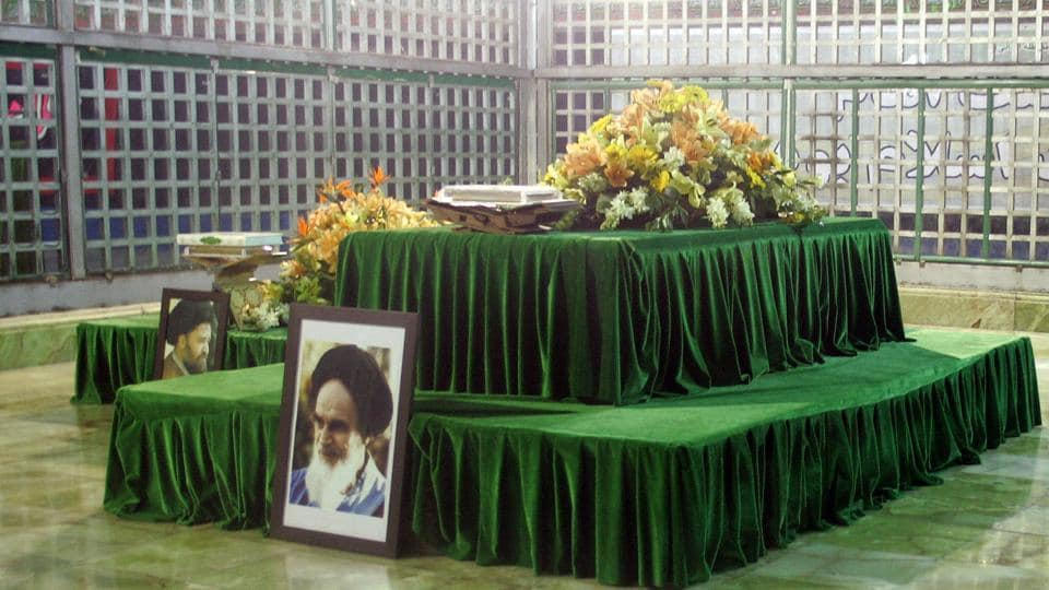 File photo taken on February 05, 2009 shows the shrine of the late Ayatollah Ruhollah Khomeini at Khomeini's mausoleum in Tehran. An armed man stormed into the mausoleum and shot several people, state media reported as a simultaneous attack took place inside Iran's parliament.  (Atta Kenare/AFP File)