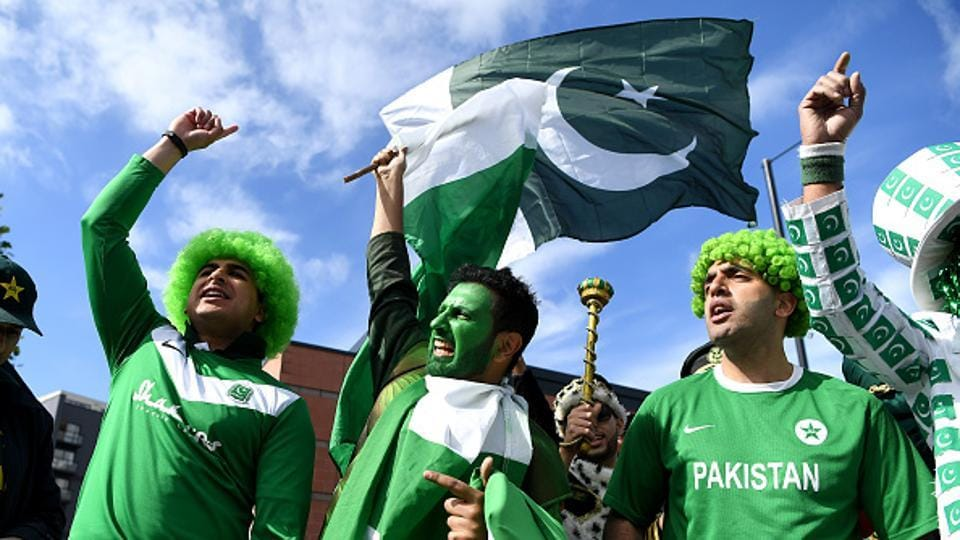 Pakistan cricket fans during the ICC Champions Trophy match against Indian cricket team at Edgbaston, in Birmingham. The city has a sizable Pakistani population which is expected to come out again in huge numbers to support their team in the crucial match against South Africa cricket team on Wednesday.
