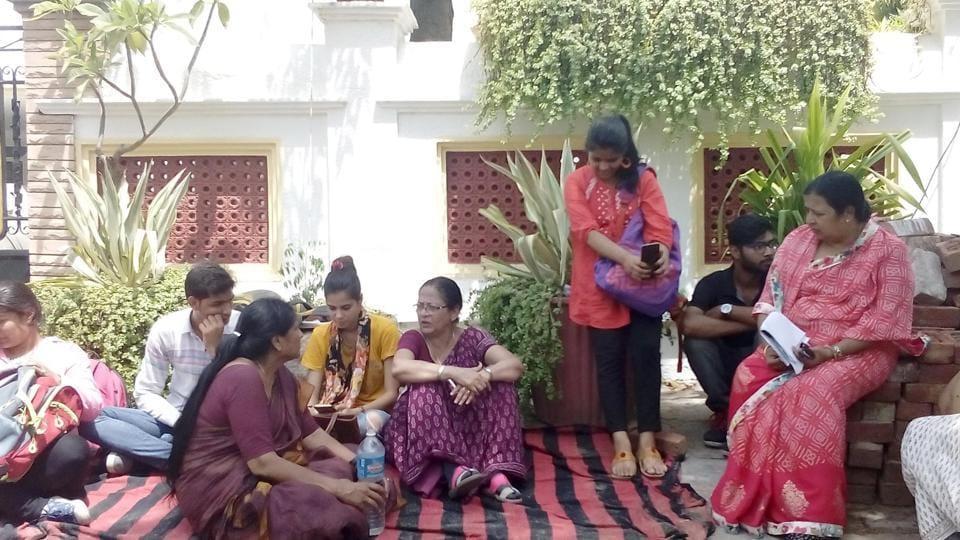 Ranju Bhandari (centre) protests outside her home in Jaipur.