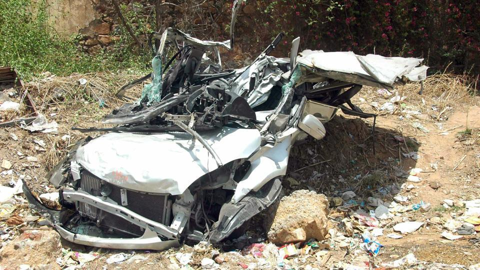 The car, involved in Tuesday's accident, was badly mangled.