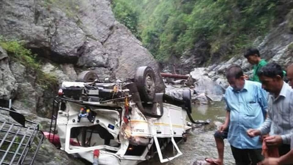 The vehicle that fell into a gorge at Almora on Wednesday.