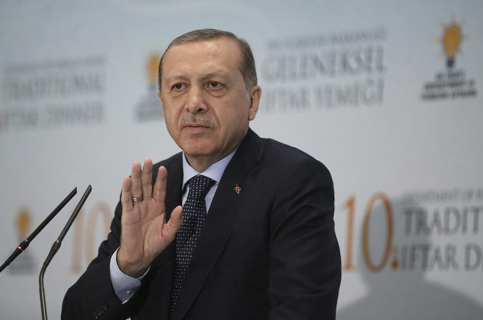 Turkish President Recep Tayyip Erdogan addresses foreign ambassadors at a Ramzan dinner in Ankara on Tuesday.